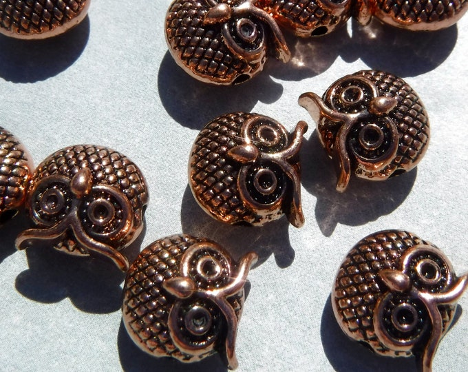 Rose Gold Metal Owl Beads - 10 Round Puffy 11mm Beads