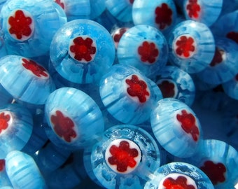 Blue and Red Millefiori Glass Beads -  8mm - Use in Mosaics - Supplies to Create Jewelry