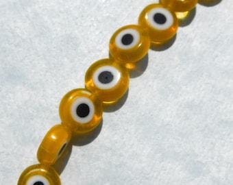 Yellow Evil Eye Glass Beads  - Small 8mm