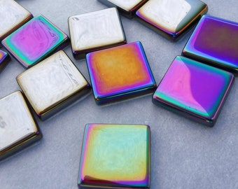 Colorful Metallic Square Tiles - 25 Iridescent Mirror Glass Mosaic Tiles - 20mm