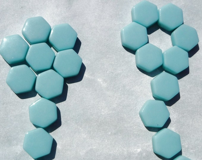 Light Teal Hexagon Mosaic Tiles - 15mm - 100g