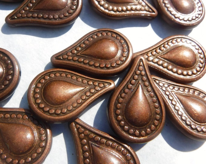 Large Copper Toned Teardrop Beads - Brown Metallic 25mm