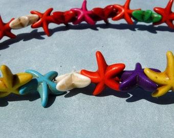 Colorful Sea Stars Stone Beads - Strand of Starfish Beads