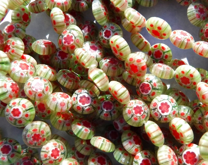 Green and Red Millefiori Glass Beads -  8mm - Watermelon