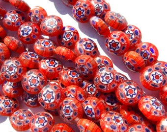 Red and Blue Millefiori Glass Beads -  8mm - Use in Mosaics - Supplies to Create Jewelry