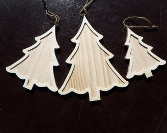 Framed Christmas Trees Ornaments - Set of 3 Nested DIY Unfinished Wood Craft with Rustic Twine Hanger