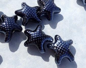 Black Starfish Beads - Ceramic Mosaic Tiles - 10 Puffy Sea Star Beads - Jewelry Supplies