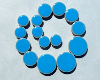 """Mediterranean Blue Circles Mosaic Tiles - 50g Ceramic in Mix of 3 Sizes 1/2"""" and 3/4"""" and 5/8"""""""