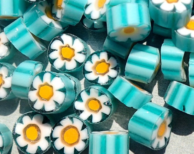 White Daisy in Teal Millefiori - 25 grams - Unique Mosaic Glass Tiles -  Floral Pattern