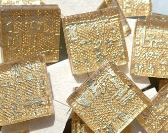 Textured Gold Foil Square Tiles - 25 Glass Mosaic Tiles - 20mm