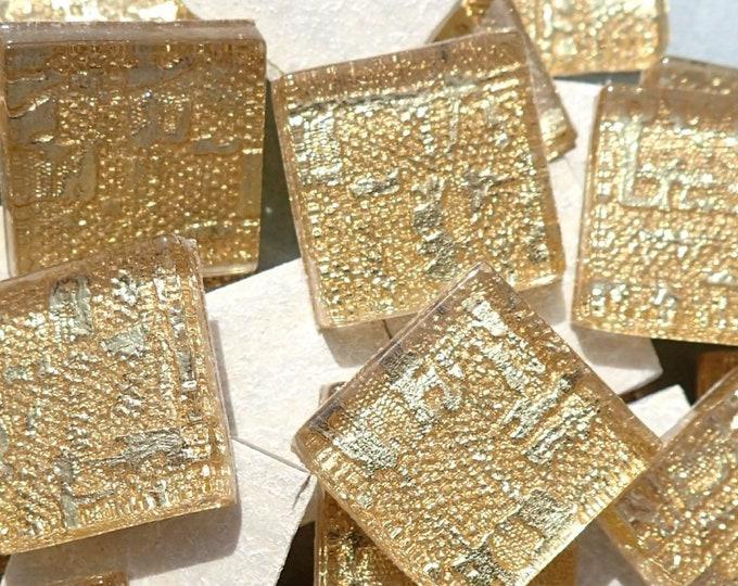 Textured Gold Foil Square Tiles - 25 Glass Mosaic Tiles - 20mm