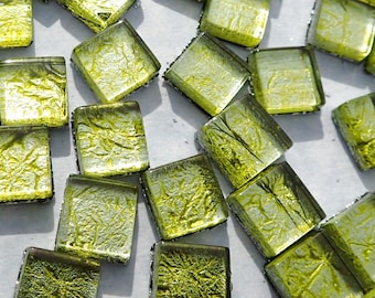 Lime Green Foil Square Crystal Tiles - 10mm - 50g Metallic Glass Tiles in Chartreuse