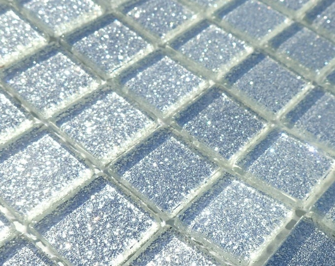 Silver Glitter Tiles - 1 inch Mosaic Tiles - 25 Metallic Glass Tiles