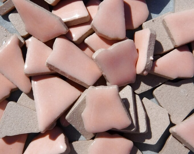 Pale Pink Mosaic Ceramic Tiles - Jigsaw Puzzle Shaped Pieces - Half Pound