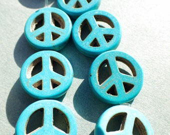 Blue Peace Sign Beads - 15mm - Set of 10