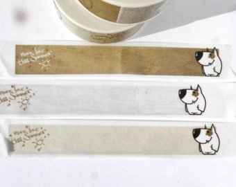 Dog Washi Tape Labels - Cute White Dog with Brown Spot - Paper Tape Great for Calendars Scrapbooking Paper Crafts Organizing Pets 15mm x 10m