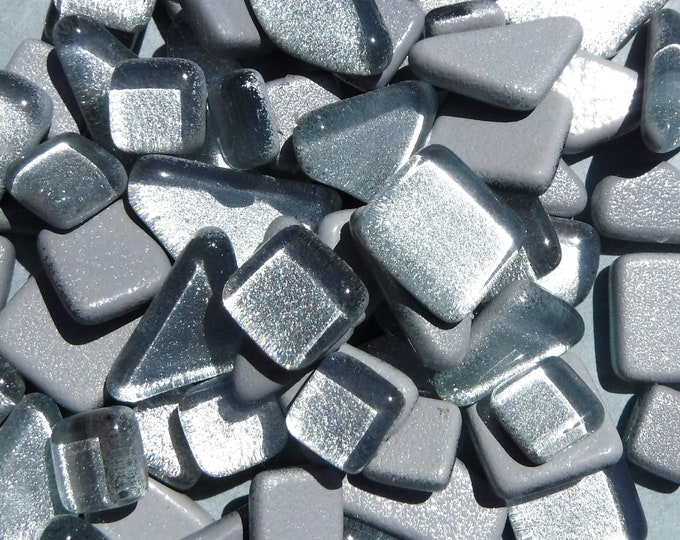 Silver Glass Puzzle Tiles - Assorted Shapes - 100 grams