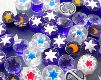 Starry Night Millefiori - 25 grams - Mix of Stars and Moons