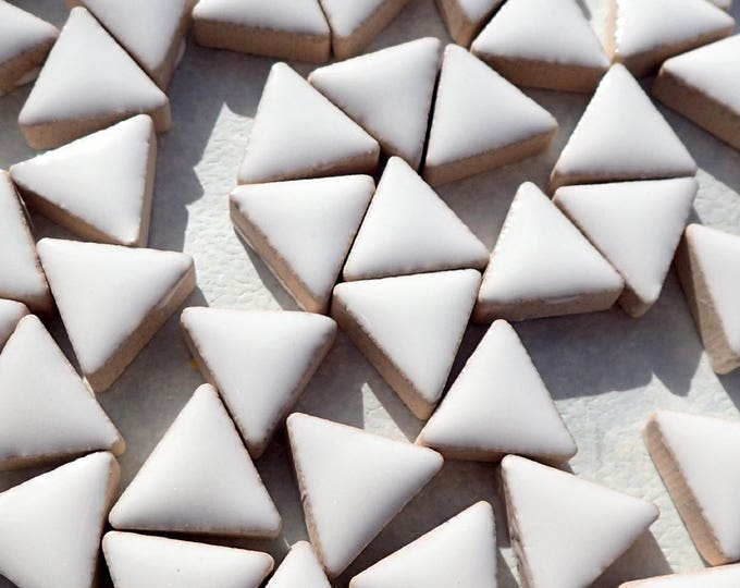 White Mini Triangles Mosaic Tiles - 50g Ceramic - 15mm