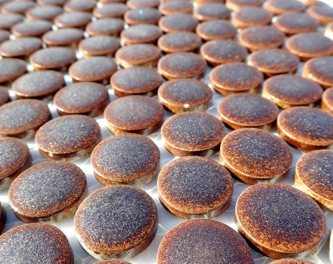 Bronze Ceramic Tiles - Round Mosaic Tiles - 2 cm or .75 inch - 25 Tiles - Penny Rounds