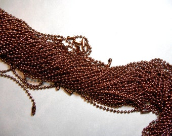 Chocolate Brown Ball Chain Necklaces - 24 inch - 2.4mm Diameter - Set of 10