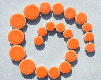 """Orange Circles Mosaic Tiles - 50g Ceramic in Mix of 3 Sizes 1/2"""" and 3/4"""" and 5/8"""""""