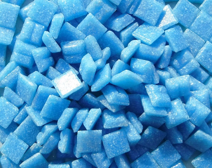 Summer Blue Vitreous Glass Tiles - 1 cm - Approx 3/8 inch - Mosaic Tiles - 100 grams - 10mmx10mmx4mm - Blue Mini Mosaic Tiles