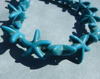 Blue Sea Stars Stone Beads - Strand of Starfish Beads