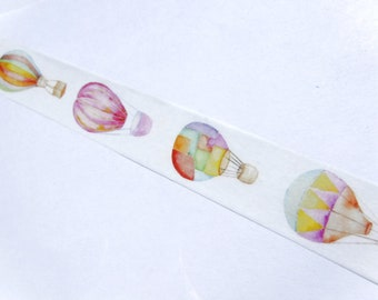 Watercolor Hot Air Balloons and Dirigibles Washi Tape - 15mm x 10m