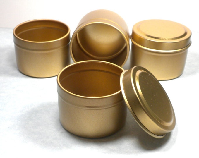 Gold Round Tin with Lid - 2 ounces Circle - Seamless and Food Safe - Use for Wedding Favors Candles or Gifts - 10