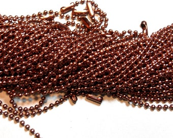 Chocolate Brown Ball Chain Necklaces - 24 inch - 2.4mm Diameter - Set of 25