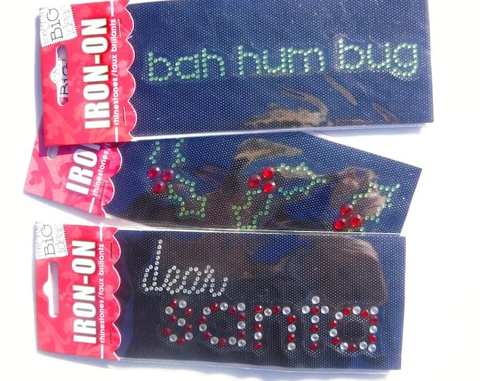 Holiday Rhinestone Iron Ons - Dear Santa - bah hum bug - Holly Leaves - DIY