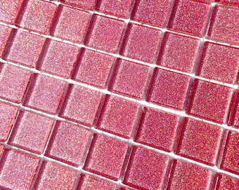 Salmon Pink Glitter Tiles - 1 inch Mosaic Tiles - 25 Metallic Glass Tiles - Medium Pink