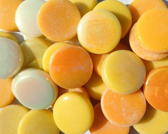 Sunshine Mix Large Glass Drops Mosaic Tiles - 100 grams Vase Fillers - 20mm Flat Marbles Mix of Gloss and Iridescent Glass Gems