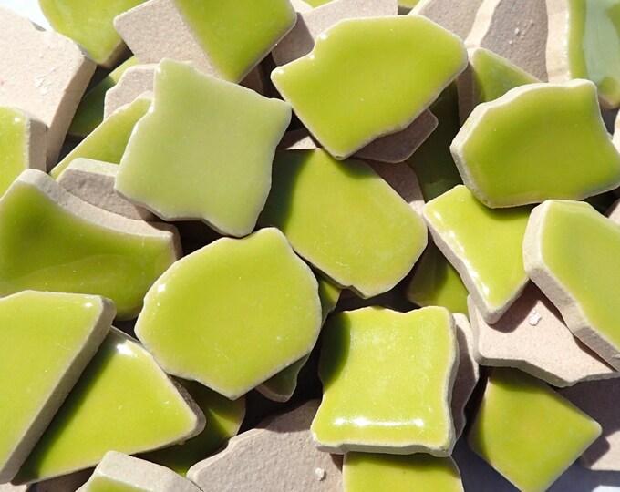 Kiwi Green Mosaic Ceramic Tiles - Jigsaw Puzzle Shaped Pieces - Half Pound