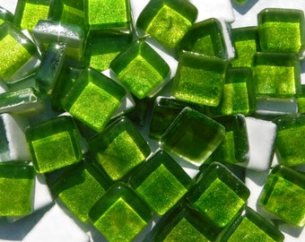 Tropical Lime Green Foil Square Crystal Tiles - 12mm - 50g