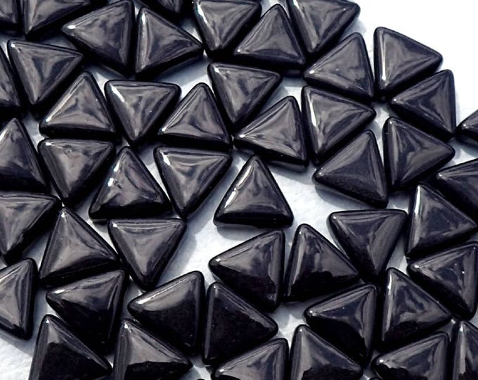 Small Black Triangle Glass Mosaic Tiles - 10mm - Opaque Glass Solid Color - 50g of Triangles