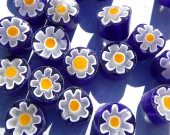 White Daisy in Bright Blue Millefiori - 25 grams - Unique Mosaic Glass Tiles -  Floral Pattern