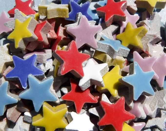 "Bright Stars Mosaic Tiles - 50 Ceramic 3/4"" Inch Tiles in Assorted Colors"