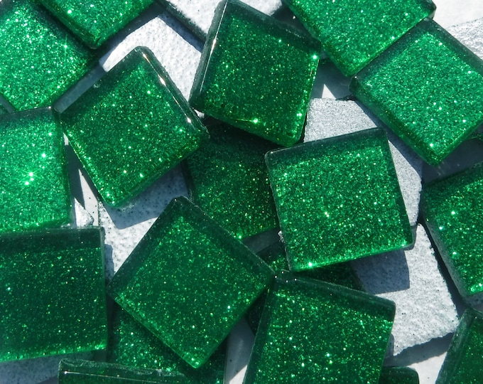 Green Glitter Tiles - 20mm Mosaic Tiles - 25 Metallic Glass Tiles