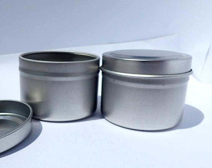 Silver Round Tin with Lid - 2 ounces Circle - Seamless and Food Safe - Use for Wedding Favors Candles or Gifts - 10