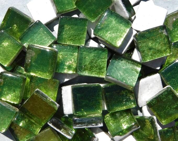 Chartreuse Foil Square Crystal Tiles - 12mm - 50g Metallic Glass Tiles