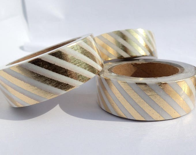 Gold Diagonal Lines Foil Washi Tape - Paper Tape Great for Scrapbooking Paper Crafts and Mixed Media - Thick Gold Lines 15mm x 10m
