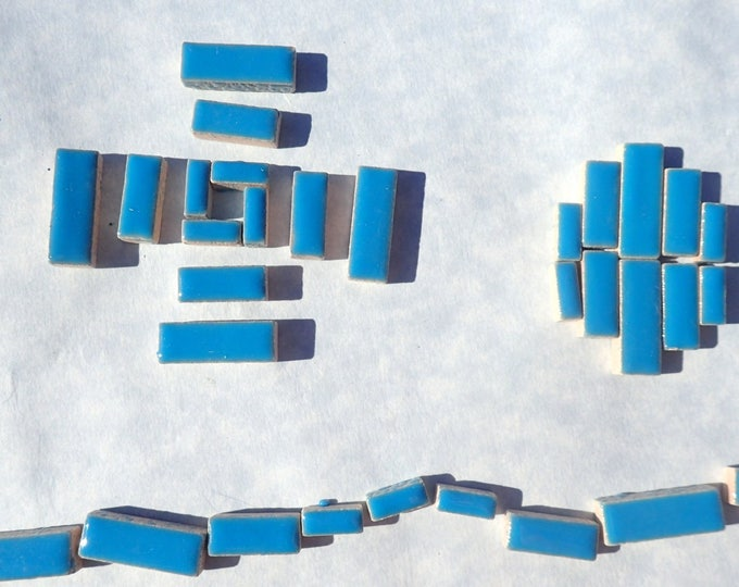"Mediterranean Blue Mini Rectangles Mosaic Tiles - 50g Ceramic in Mix of 3 Sizes 3/8"" and 5/8"" and 3/4"" in Thalo Blue"