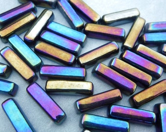 Colorful Metallic Rectangle Mosaic Tiles - 20mm Sticks - 50g Glass Bar Tiles