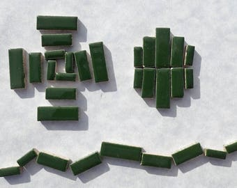 "Deep Green Mini Rectangles Mosaic Tiles - 50g Ceramic in Mix of 3 Sizes 1/2"" and 3/4"" in Pesto"