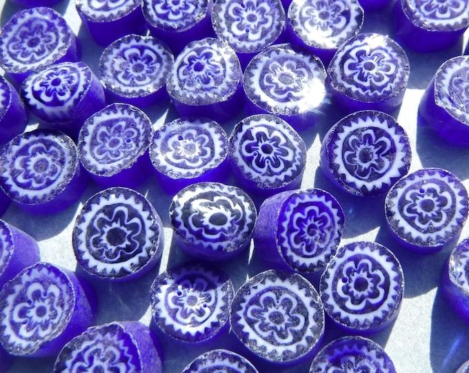White Flowers in Deep Blue Millefiori - 25 grams