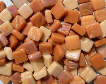 Caramel Mix Mini Glass Tiles - 8mm Square - 50 grams Opaque Glass Solid Color Mix of Bright and Pale Brown Iridescent and Matte Tiles