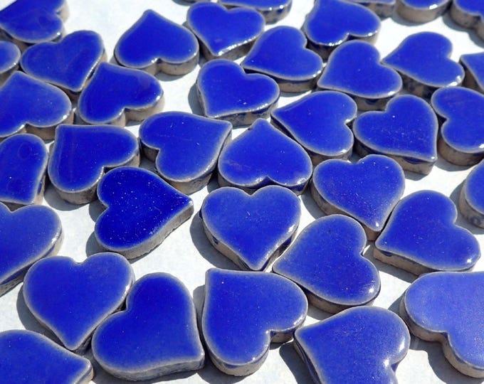Dark Blue Heart Mosaic Tiles - 25 Large Ceramic 5/8 inch