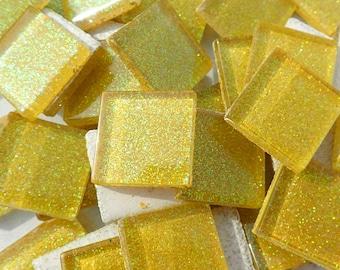 Harvest Yellow Glitter Tiles - 20mm Mosaic Tiles - 25 Metallic Glass Tiles